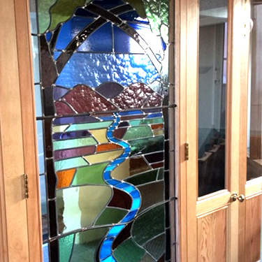 Stained glass church door
